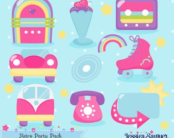 INSTANT DOWNLOAD - Retro Party Clipart and Vectors