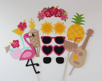 Hawaiian Summer Photo Booth Prop 13 Pc Flamingo & Pineapple Tiki Collection