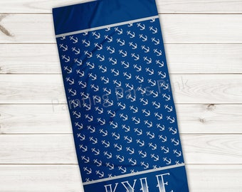 Beach Towel | Anchors Personalized | Extra Large 30x60 | Ultra-Soft Microfiber Velour | Summer | Gift | Little Boy