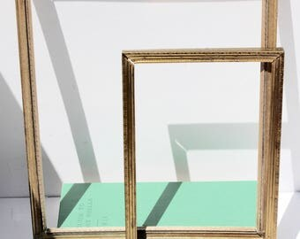 Two Vintage Gold Frames 8 x 10 and 5 X 7 Rustic Hollywood Regency Paris Shabby Chic Wedding Decoration Home Decor Gift For Her Metal