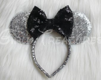 Silver and Black Mouse Ears Headband. All Over Sequin Mouse Ear. Mouse Ears Headband. Disney Headband. One Size Fits Most.