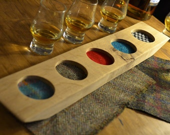 Oak Whisky Tray - holds 3 nosing glasses - Shot Tasting Flight Board