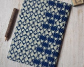 Large African Print Journal Notebook Sketchbook Notepad Jotter 96 unlined pages with flexible cover - Blue beige