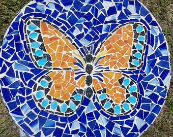 """15"""" Round Mosaic Table Top Featuring a Butterfly / Inside or Out / Piece Made"""