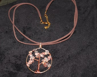 Fancy Jasper Tree of Life Pendant on Suede Chain