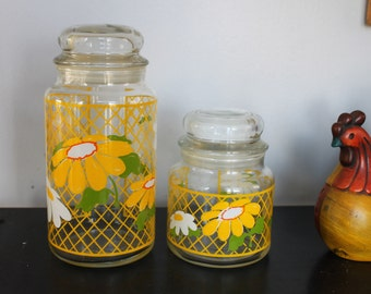 Cheery Yellow Daisy Vintage Decorative Hildi Glass Canisters,Flower Power Kitchen Storage, 2 Glass Canisters, Daisy Glass jars