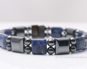 Magnetic Hematite Bracelet with Sodalite, Arthritis Therapy Bracelet for Men and Women