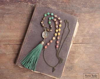 Green tassel necklace Beaded boho necklace Bohemian jewelry Multicolor necklace Beaded necklace Long boho necklace Bohemian necklace citrine