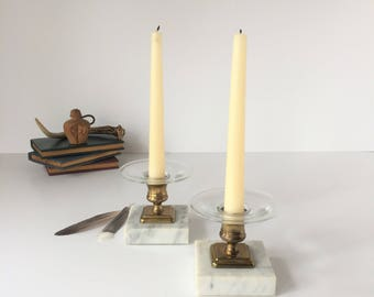 Marble Base Candlesticks, Vintage Brass Candlesticks with Glass Bobeches, Mid Century Candle Holders, Classical Candleholders