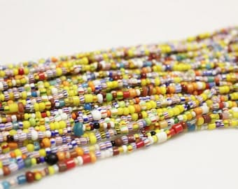 """Small African Christmas Beads 35"""" Strand ,African Trade Beads, Colorful Seed Beads (*AG261*)"""