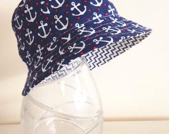 Baby/Boys hat in funky anchor fabric- summer hat, bucket hat