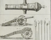 1779 Antique print of CANNONS. MAKING CANNONS, different types. Artillery. Cannon. 238 years old Diderot Encyclopaedia engraving.
