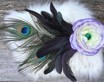 Flower Hair Clip, Peacock Hair Clip, Feather Hair Clip, Flower Hair Clip, Wedding Hair Piece, Flower Clip, Bridal, Festival, EDC, Burningman