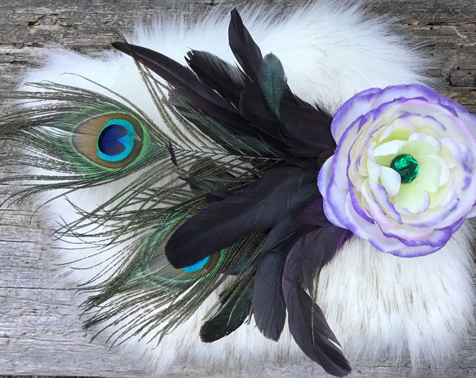 Flower Hair Clip, Peacock Hair Clip, Feather Hair Clip, Flower Hair Clip, Wedding Hair Piece, Flower Clip, Bridal, Festival, EDC, Burningman