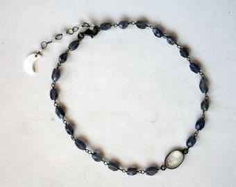 Rainbow Moonstone and Iolite Beaded Choker Sterling Silver Necklace