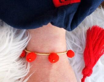 Red Pom Pom Bracelet - Gold Beaded Bracelet - Bohemian Bracelet - Boho Bracelet - Gift For Her - Statement Bracelet - Seed Bead Bracelet