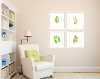 Leaves and Branches Minimalist Decor Green Watercolor Art Green Plant Decor Green Art Living Room Wall Art Wedding Gift Green Leaf Gift Idea