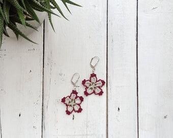 Boho Flower Earrings, Crochet Earrings, Beaded Earrings, Dangle Oya Earrings, Crochet Jewelry, Burgundy Earrings, Women's Gift