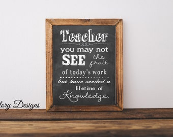 Teacher Appreciation gift, Teacher quote, Teacher printable, Teacher gift,  Printable, Classroom printable, inspirational quote