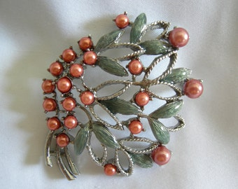Grey Green and Coral Pink Beaded Floral Design Silver Tone Brooch Pin | Vintage