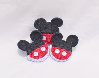 Mickey Mouse retractable tape measure; crocheted tape measure