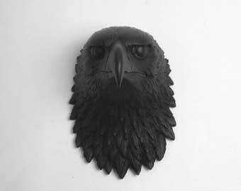 The Phoenix, Large Black Resin American Bald Eagle Head Wall Sculpture, Resin Bird by White Faux Taxidermy Chic Wall Hanging Bird Ornaments