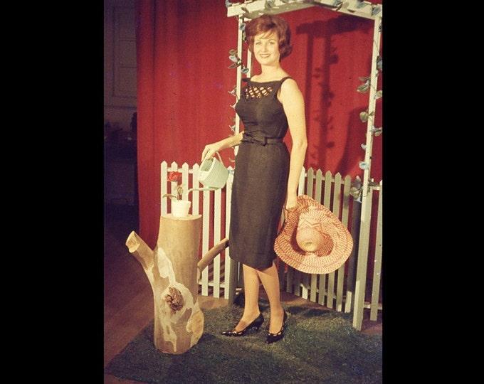 35 mm AnscoChrome Slide/Transparency: Woman in Garden Tableau; Amateur Glamor, c1950s-60s Vintage Snapshot Photo