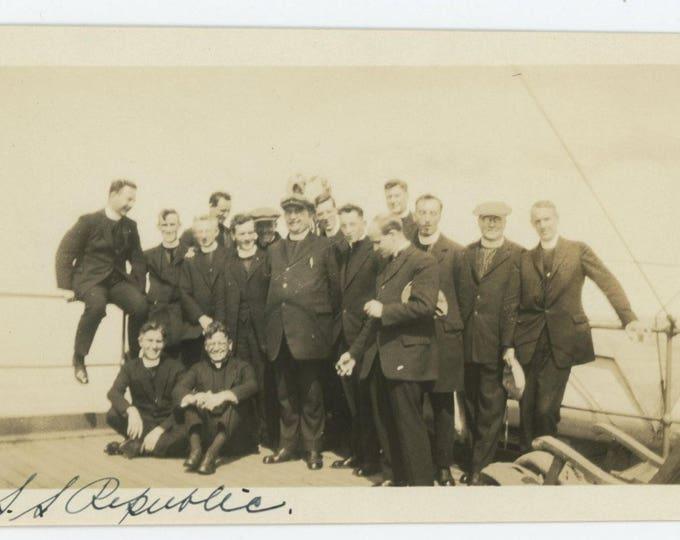 """Vintage Snapshot Photo: Clergymen, """"S.S. Republic"""" c1930s (75575)"""