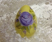 Hand Painted Easter Egg yellow with pretty purple rose and rosebuds delicate shabby chic Easter one of a kind collectable RESERVED
