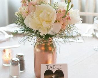 Rose Gold Wedding / Copper / Wedding Centerpiece / Table Decor / Vase / Painted Mason Jar / 1 Quart / Wedding Decor / Home Decor / Rustic