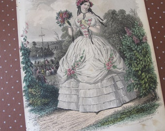 MAY QUEEN: Graham's Magazine Antique 1851 Illustration Hand Colored. Civil War or Scarlett OHara Fashion, Mid Victorian 1800's Fashion Plate