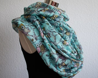 Turquoise Owl Infinity Scarf XL Owl Scarf Animal Scarf scarf owl print scarves beach cover up loop scarf gifts mothers day gift animals bird