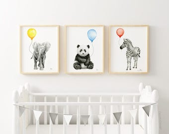Baby Animals with Balloons Art Prints Jungle Safari Animals Nursery Wall Decor Animal Watercolor Prints Elephant Panda Zebra Set of 3 Prints