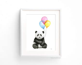 Baby Panda Balloons Watercolor Animals with Balloons Panda Art Print Panda Nursery Wall Art Panda Decor Baby Animals Jungle Safari Art Print