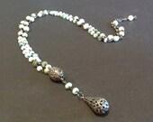 opal necklace, opal bead necklace, gunmetal necklace, teardrop necklace, pave necklace, elegant necklace, gemstone necklace