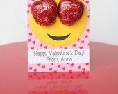Emoji Valentine Tags or Stickers - Emoji School Valentine - Candy Valentine - Choose Printable or Printed/Shipped