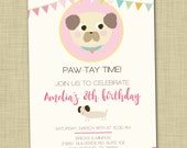 Animal lover birthday invitation printable Dog birthday party invite Puppy themed invite Puppy invitation Young girl birthday invite