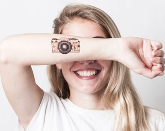 Floral Camera Temporary Tattoo