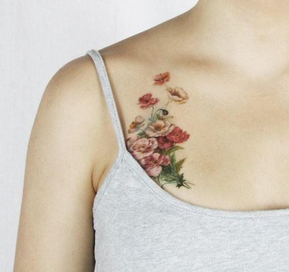Vintage Poppy Temporary Tattoo - Poppy Temporary Tattoo - - Vintage Floral Temporary Tattoo - Boho Temporary Tattoo