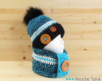 Rustik kit. Hat cowl snood crochet black/turquoise ivory cream yarn sock with fur pompom (made to order)