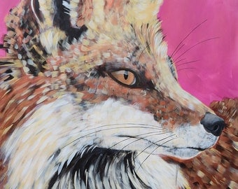 Original Fox Painting by Natalie Jo Wright Large scale painting on paper, pink, gold, copper.