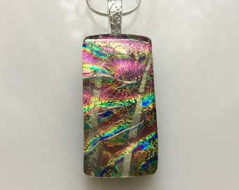 Dichroic Glass Pendant, Fused Glass Jewelry, Pink Purple Rainbow Dichroic Necklace