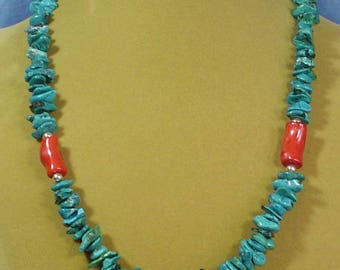 "22"" Deep Blue-Green Cryscolia and Red Coral Necklace - N473"