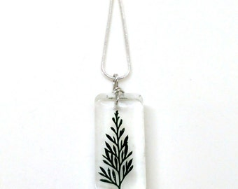 Green Fern Necklace - Real Pressed Fern Encased in Resin - Pressed Flower Jewelry - Wire Wrapped Pendant - Resin Jewelry - Rectangle Shape