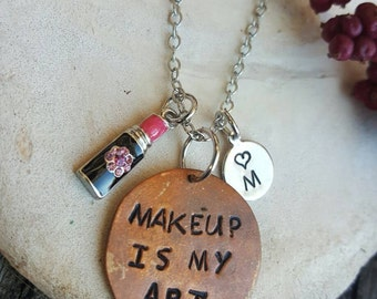 Make up Artist Lipstick Charm Necklace Makeup is my art handstamped initial