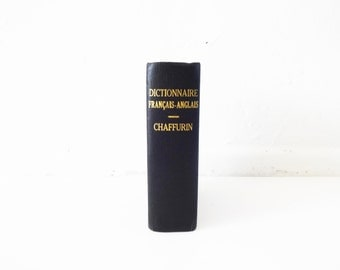 Vintage Small Black Cloth Hardcover French-English Dictionary Book