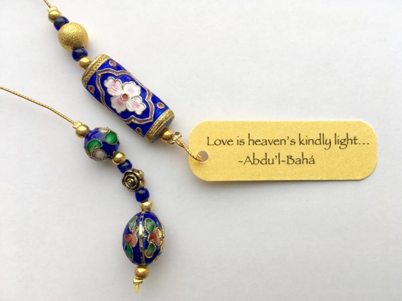 Beaded Bookmark | Sapphire rose cloisonné beaded bookmark