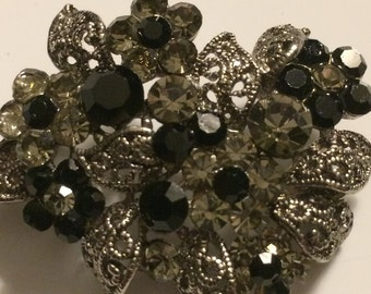 Vintage Brooch ~ Silvertone Filigree with Black White Rhinestones ~ NICE