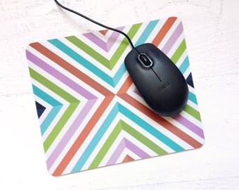 Fruit Stripe Geometric Mousepad - Bold, Modern, Graphic, Colorful Design For the Home or Office, for Her, Gift, Holiday, Christmas, Festive