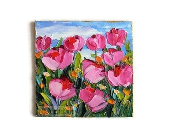 Pink Tulip Mini Small Oil Painting Flower Field Original Art Textured Impasto Palette Knife Gift for Her 4x4 with FRAMED OPTION